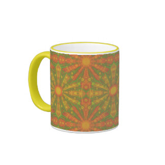 """Sunshine"" abstract pattern in orange and yelllow Ringer Mug"