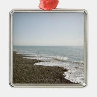 Sunshine and beach Silver-Colored square decoration