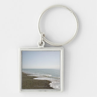 Sunshine and beach Silver-Colored square key ring