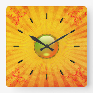 """""""Sunshine and Butterflies"""" Square Wall Clock"""
