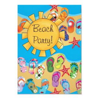 Sunshine and Flip Flops Beach Party 13 Cm X 18 Cm Invitation Card