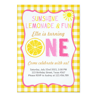 Sunshine and Lemonade sunshine birthday invitation