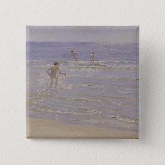 Sunshine at Skagen: Boys Swimming, 1892 15 Cm Square Badge