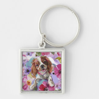 'Sunshine' blenheim cavalier dog art keychain