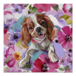 'Sunshine' Blenheim cavalier dog art print