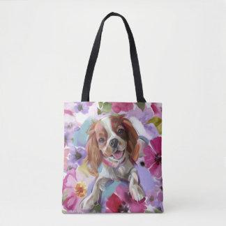 'Sunshine' blenheim cavalier dog art tote bag