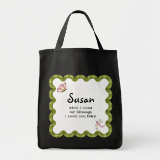 Sunshine Butterfly Blessings Matching Name Tote Grocery Tote Bag