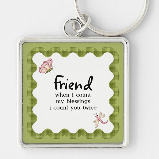 Sunshine Butterfly Friendship Blessings Add Name Silver-Colored Square Key Ring