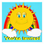 Sunshine Day Rainbow Birthday Party Invitaitons Personalized Announcements
