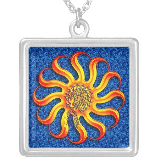 Sunshine Dragon Blue Texture Background Custom Necklace