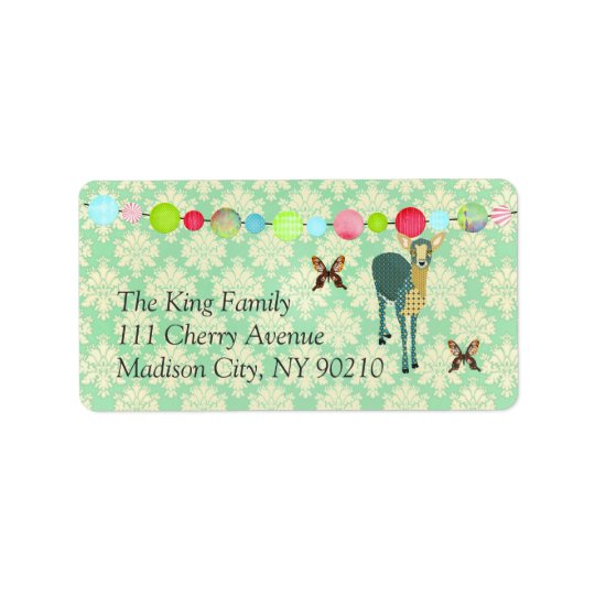 Sunshine Fawn Mint Julep Damask Label