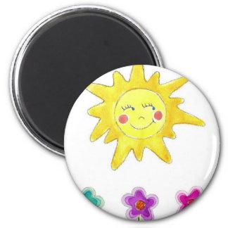 Sunshine Flowers 6 Cm Round Magnet