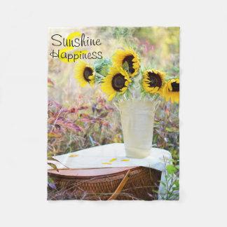 Sunshine & Happiness Sunflowers Fleece Blanket