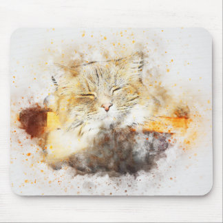 Sunshine Kitty | Abstract | Watercolor Mouse Mat