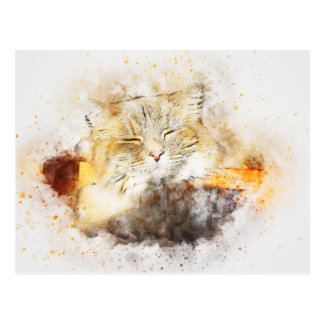 Sunshine Kitty | Abstract | Watercolor Postcard