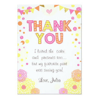 Sunshine Lemonade Birthday Thank You Card Girl