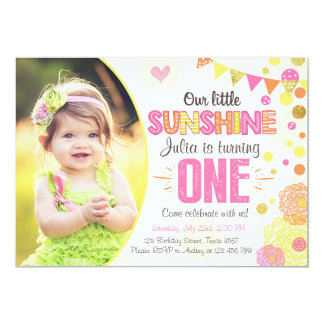 Sunshine Lemonade Pink Birthday Invitation