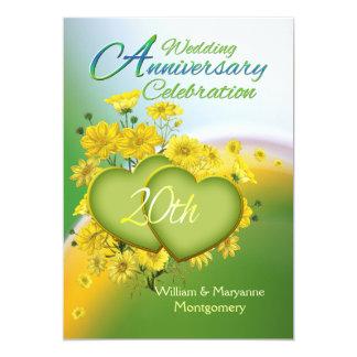 Sunshine Love 20th Wedding Anniversary Party 13 Cm X 18 Cm Invitation Card