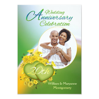 Sunshine Love 20th Wedding Anniversary Party Photo 13 Cm X 18 Cm Invitation Card