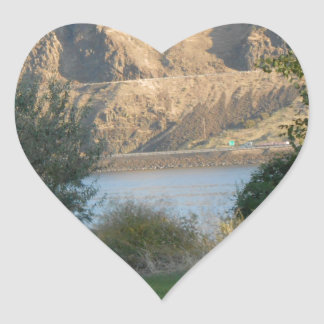 Sunshine on the Canyon Wall Heart Sticker