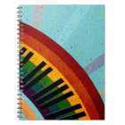 sunshine on water reflections round piano notebook