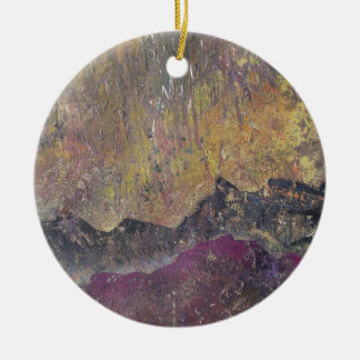 Sunshine over craggy landscape christmas ornament