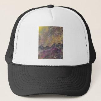 Sunshine over craggy landscape trucker hat