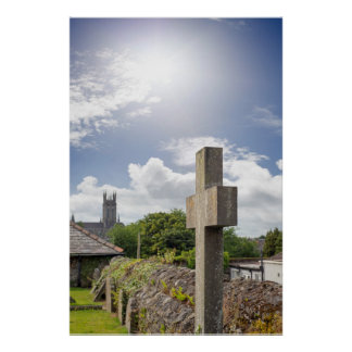 sunshine over cross at ancient graveyard poster