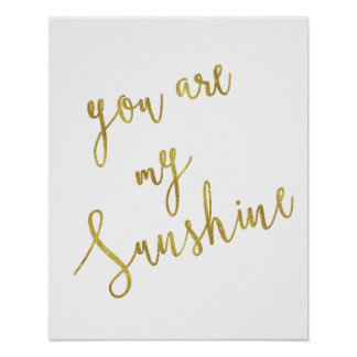 Sunshine Quote Faux Gold Foil Glitter Background Poster