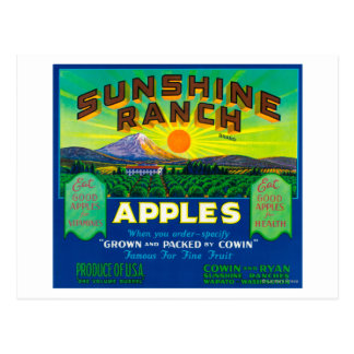 Sunshine Ranch Apple Label - Wapato, WA Postcard