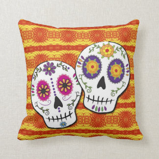 Sunshine Sugar Skulls Throw Pillows
