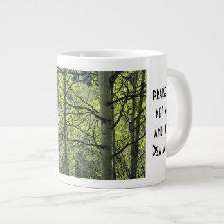sunshine thru white aspens, w Scripture verse Giant Coffee Mug