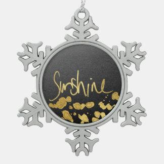 """Sunshine"" Typography & Paint Splatter- Faux Gold Pewter Snowflake Decoration"