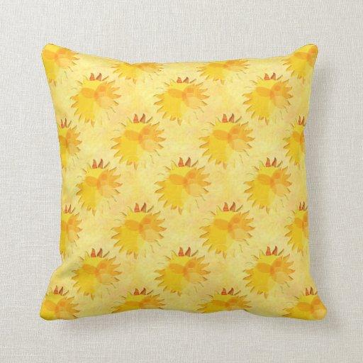 Sunshine Yellow Abstract Throw Pillows