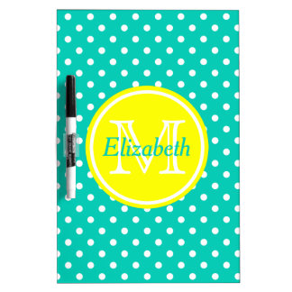Sunshine Yellow and Island Sea Polka Dot Monogram Dry Erase Board