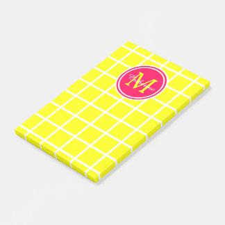 Sunshine Yellow and Summer Pink Lattice Monogram Post-it Notes