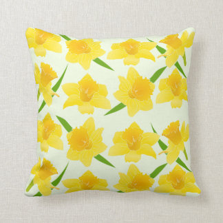 Sunshine Yellow Daffodil Flowers Pattern Cushion