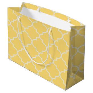 Sunshine Yellow Moroccan Lattice Large Gift Bag
