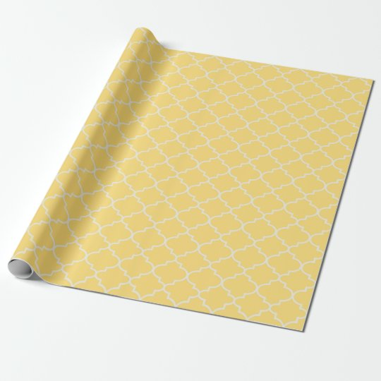 Sunshine Yellow Moroccan Lattice Pattern Gift Wrap Wrapping