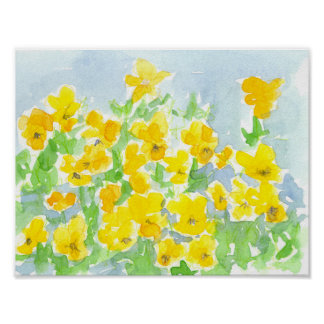 Sunshine Yellow Pansy Flowers Watercolor Painting Poster