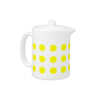 Sunshine Yellow Polka Dots on White