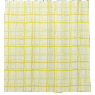 Sunshine Yellow Shower Curtain - Plaid