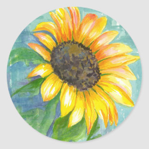 Sunshine Yellow Sunflower Watercolor Painting Classic Round Sticker