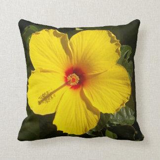 Sunshine Yellow Tropical Hibiscus Flower Cushion