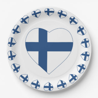 SUOMI FINLAND HEART SHAPE FLAG PAPER PLATE