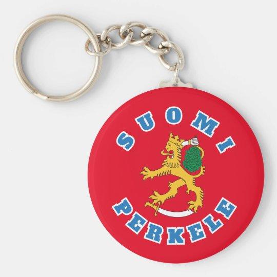 Suomileijona – Suomi-Perkele – avaimenperä Basic Round Button Key Ring