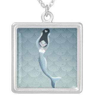 Suomu Blue Mermaid Silver Plated Necklace