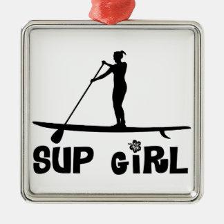 SUP Girl Silver-Colored Square Decoration