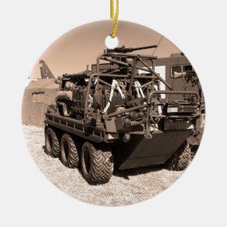 Supacat. The  all terrain six wheeled army vehicle Round Ceramic Decoration