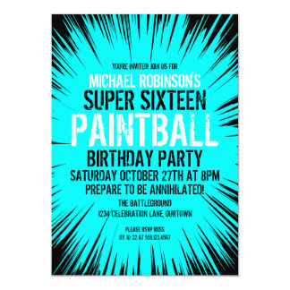 Super 16 Paintball Party Invitations